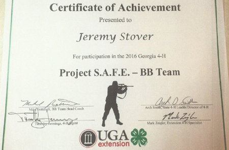 Certificate of Achievement from the University of GA